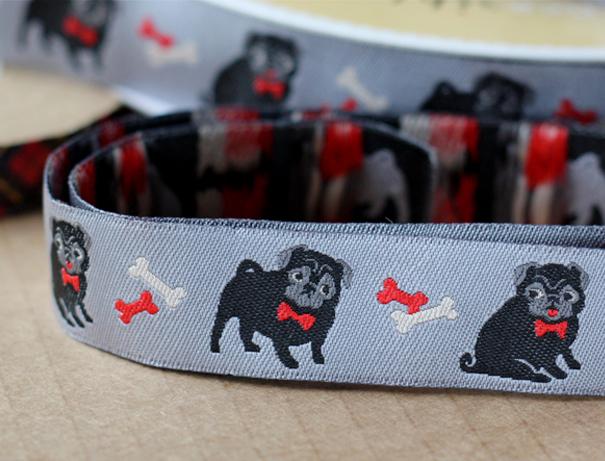 Pug dog ribbon by Jessica Jones