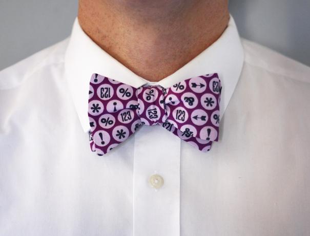 Typography DIY purple bow tie