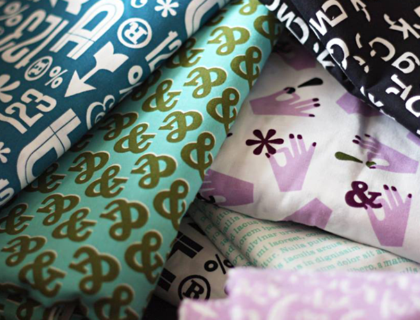Typography fabric: ampersand and wood type