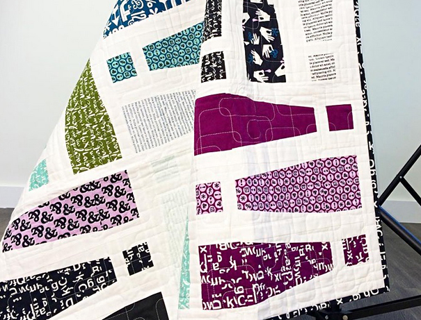 Typographic quilt with numbers and letters