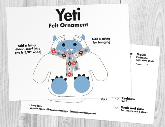 felt yeti ornament pattern template